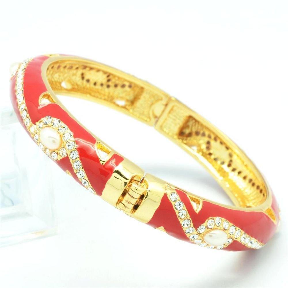 Tiptop Swarovski Crystals Red Enamel Faux Pearl Bracelet Bangle SKCA1184M-4