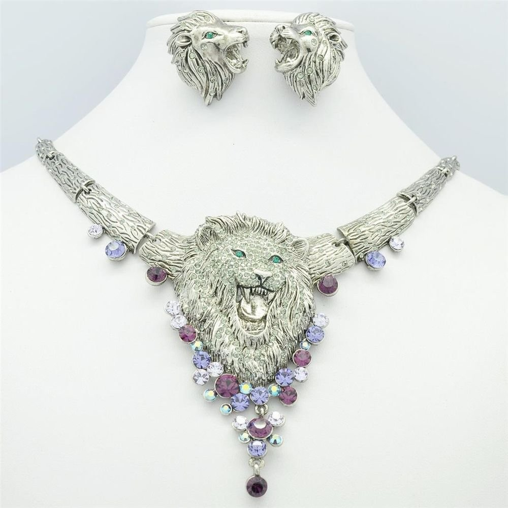 Chic VTG Style Swarovski Crystal Animal Lion Necklace Earring Set Jewelry SN3016