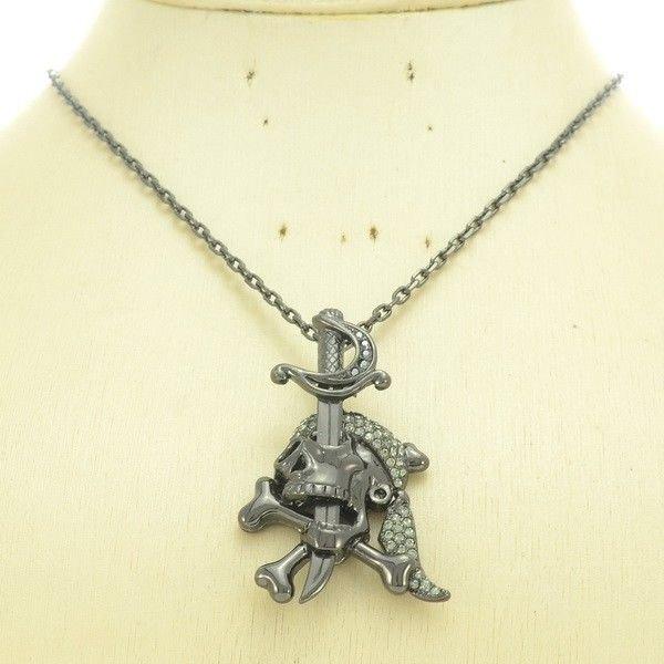 Swarovski Crystal Bone Falchion Skull Necklace Pendant Women Prom Jewelry SN3109