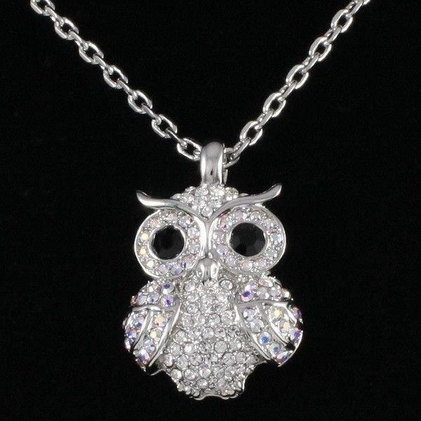 Clear Animal Owl Necklace Pendant Swarovski Crystals Women's Prom Jewelry SN3041