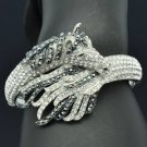 Fashion Black Rhinestone Crystals Tail Steed  Horse Bracelet Bangle