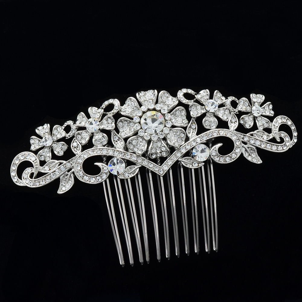 Imperial Style Clear Rhinestone Crystals Flower Hair Comb Wedding Bridal 41448R