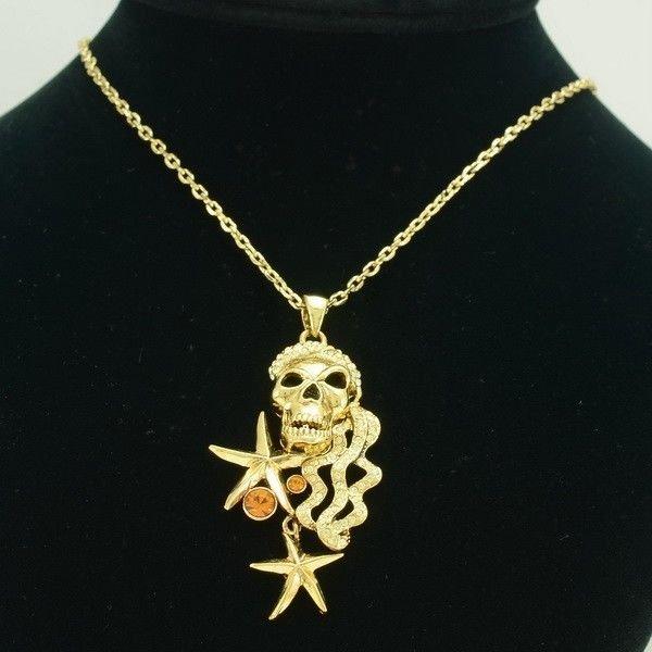 Vintage Swarovski Crystal Starfish Skull Necklace Pendant Women's Jewelry SN3112