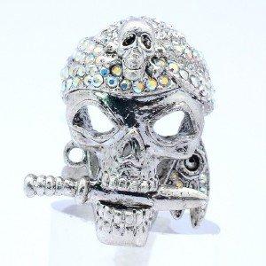 H-Quality Falchion Skeleton Skull Ring Sz Adjustable w/ Clear Swarovski Crystals