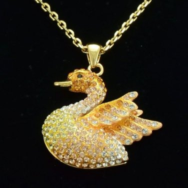 Swarovski Crystals Women's Jewelry Gold Tone Animal Swan Necklace Pendant SN3117