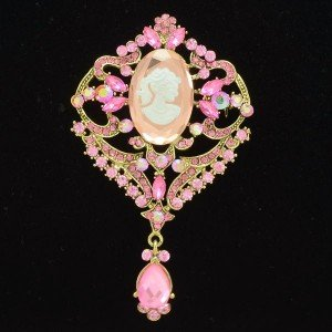 Retro Oval Lady Head Brooch Pin Pink Rhinestone Crystal Pendant Flower 5701