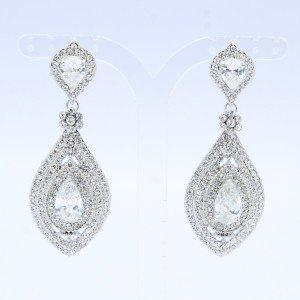 Clear Zircon Teardrop Pierced Earring w/ Clear Swaroski Crystals TZ20338