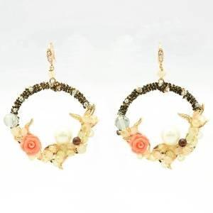 Vintage Faux Pearl Rhinestone Crystals Rose Flower Garland Dangle Earrings Women