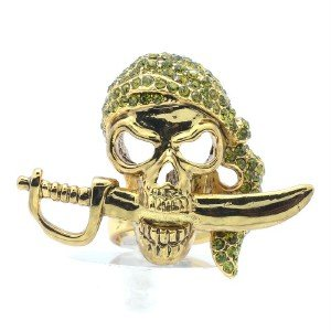 Vintage Style Grenn Swarovski Crystals Sword Skeleton Skull Ring Sz Adjustable