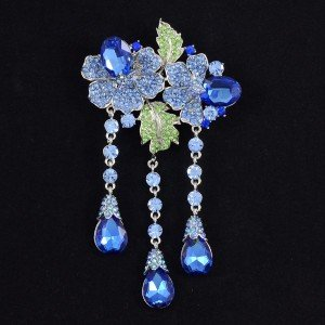 "Dazzling Drop Blue Flower Brooch Pin 4.7"" W/ Rhinestone Crystals"