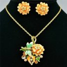 Swarovski Crystal Enamel Rose Flower Dragonfly Necklace Earring Set Pendant 3147