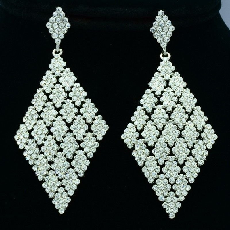 "Clear Rhinestone Crystals Parallelogram Pierced Earring Wedding Dangle 3.2"" 7444"