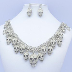 Lots Skeleton Skull Necklace Earrings Wedding Jewelry Sets Rhinestone Crystal
