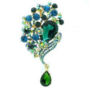 Vintage Style Green Rhinestone Crystals Pendant Flower Brooch Broach Pin 6074