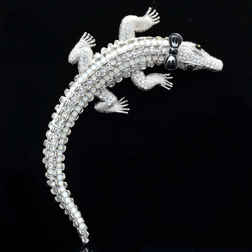 """Vogue Animal Crocodile Brooch Broach Pins4.0"""" W Clear Rhinestone Crystals 5009"""