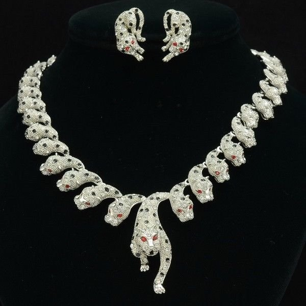Swarovski Crystals Panther Leopard Necklace Earring Set W/ Red Eyes 110104
