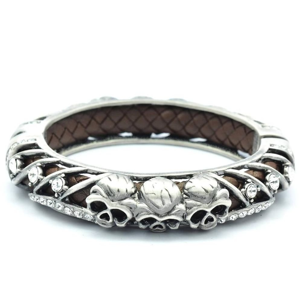 Gray Swarovski Crystals Black Leather Skull Bracelet Bangle Cuff Halloween