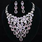 Grape Purple Necklace Earring Set Rhinestone Crystal Women's Accessories 54801