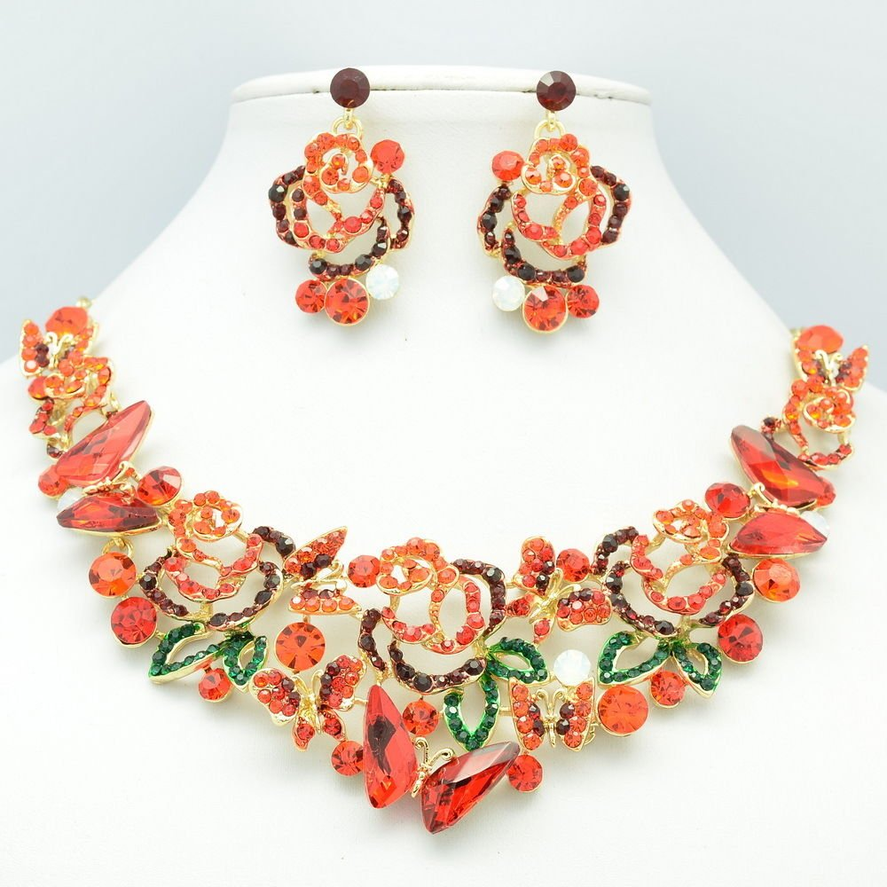 Trendy Red Flower Butterfly Necklace Earring Set Rhinestone Crystals 05662