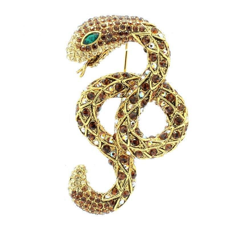 "Super Swarovski Crystals Animal Brown Snake Brooch  Broach Pin 2.6"" SBA4439"