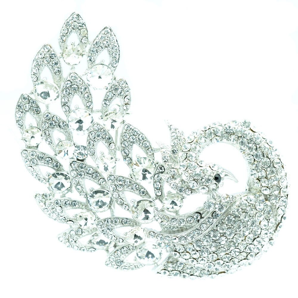 Animal Clear Peacock Brooch Pins Wedding Bridal Jewelry Rhinestone Crystals 6021
