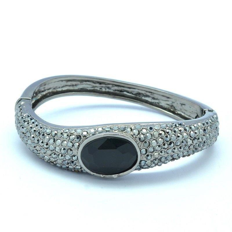 Black Fashion Teardrop Bracelet Bangle Cuff W/ Rhinestone Crystals Women 10023