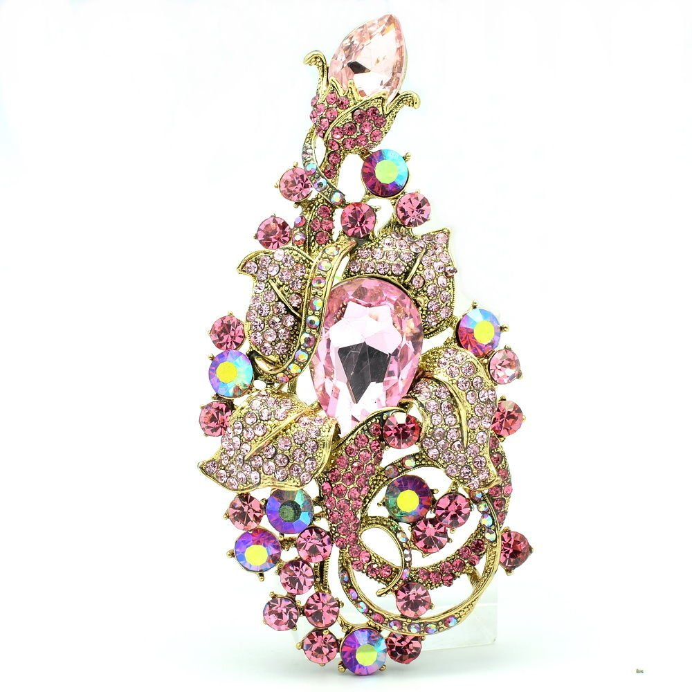 Dazzling Pink Leaf Flower Brooch Broach Pin Accessories Rhinestone Crystals 6406