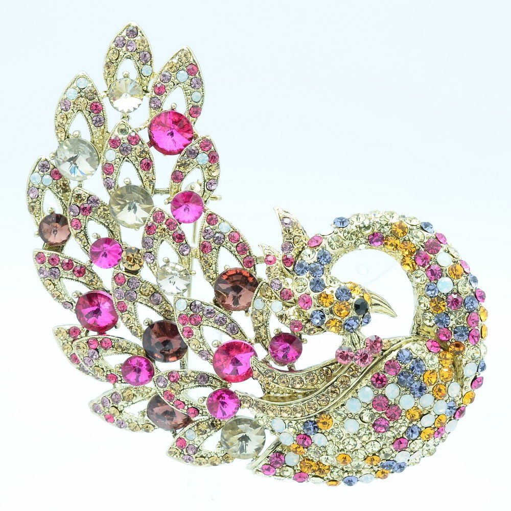 Mix Rhinestone Crystals Retro Vintage Animal Peacock Brooch Broach Pins 6021