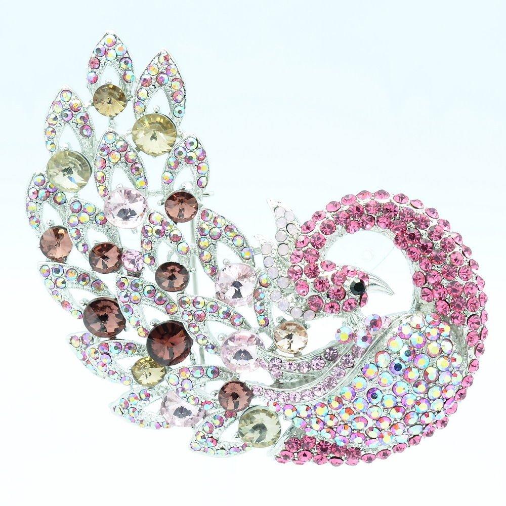 "Animal Pink Feather Peacock Brooch Broach Pins 3.7"" Rhinestone Crystals 6021"