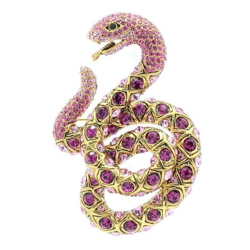"Women Tiptop Swarovski Crystal Pink Snake Brooch Broach Pin 3.1"" Jewelry SBA4439"