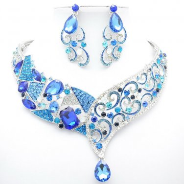 Fashion Women Blue Flower Necklace Earring Set Rhinestone Crystal Coil Drop 5103