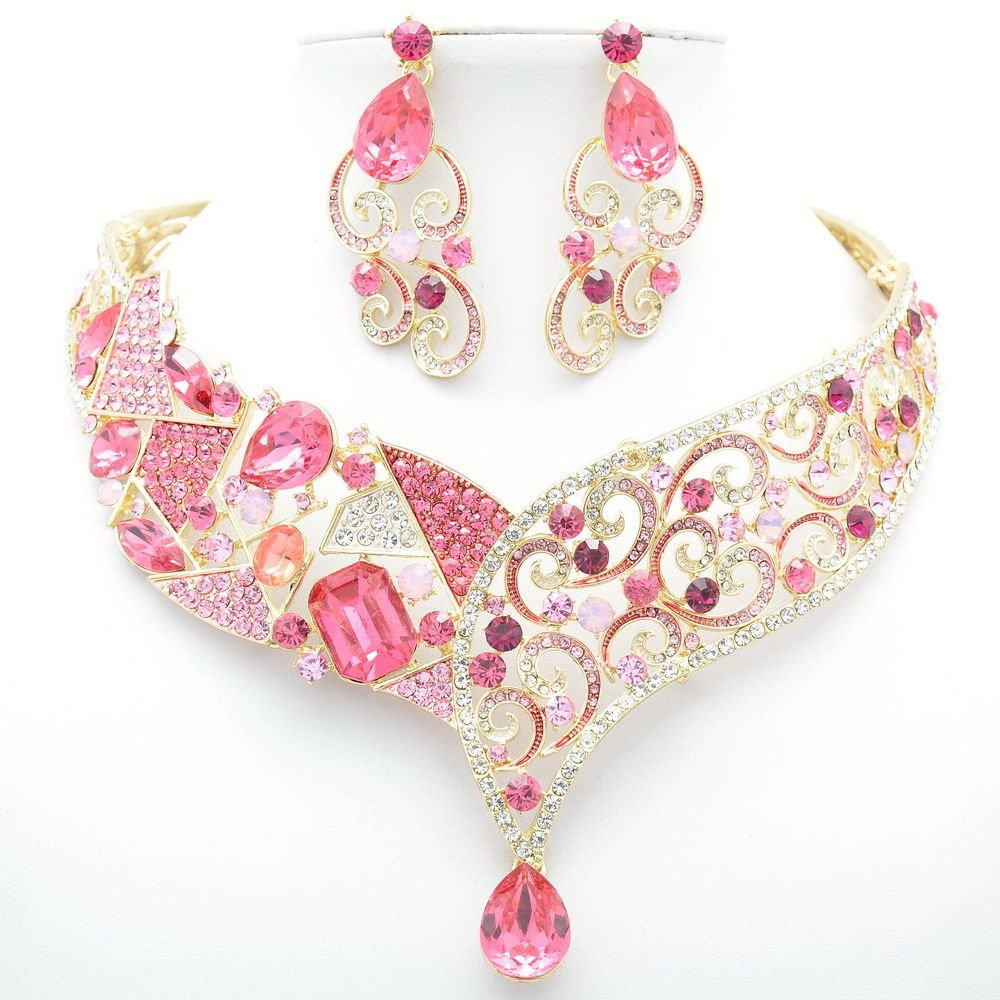 Vintage Style Rhinestone Crystal Pink Flower Necklace Earring Set Coil Drop 5103