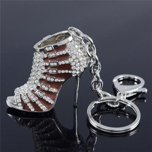 Rhinestone Crystal Art Deco Brown Enamel High-Heel Shoe KeyRing Key Chain FB1082