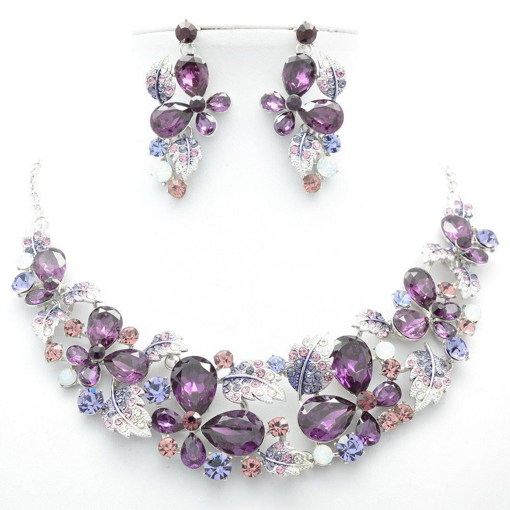 Grape Purple Rhinestone Crystal Flower Leaf Butterfly Necklace Earring Set 05661