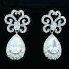 Wedding Flower Pierced Drop Earring Bridal Clear Zircon Rhinestone Crystal 20468