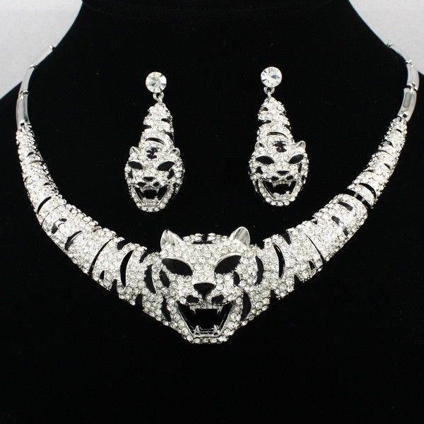 Cute Silver Tone Rhinestone Crystal Animal Tiger Necklace Earring Set Women 4102