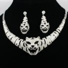 Cute Silver Tone Rhinestone Crystal Animal Tiger Necklace Earring Set Women 4102