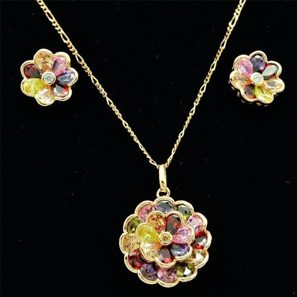 Elegant Zircon Round Flower Necklace Earring Set  Rhinestone Crystals Women16230