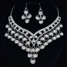 Charming Drop Flower Necklace Earring Set Rhinestone Crystal Wedding Bridal 3102