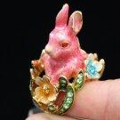 Green Austrian Crystal High Quality Bunny Rabbit Cocktail Ring 6# W/ Pink Enamel