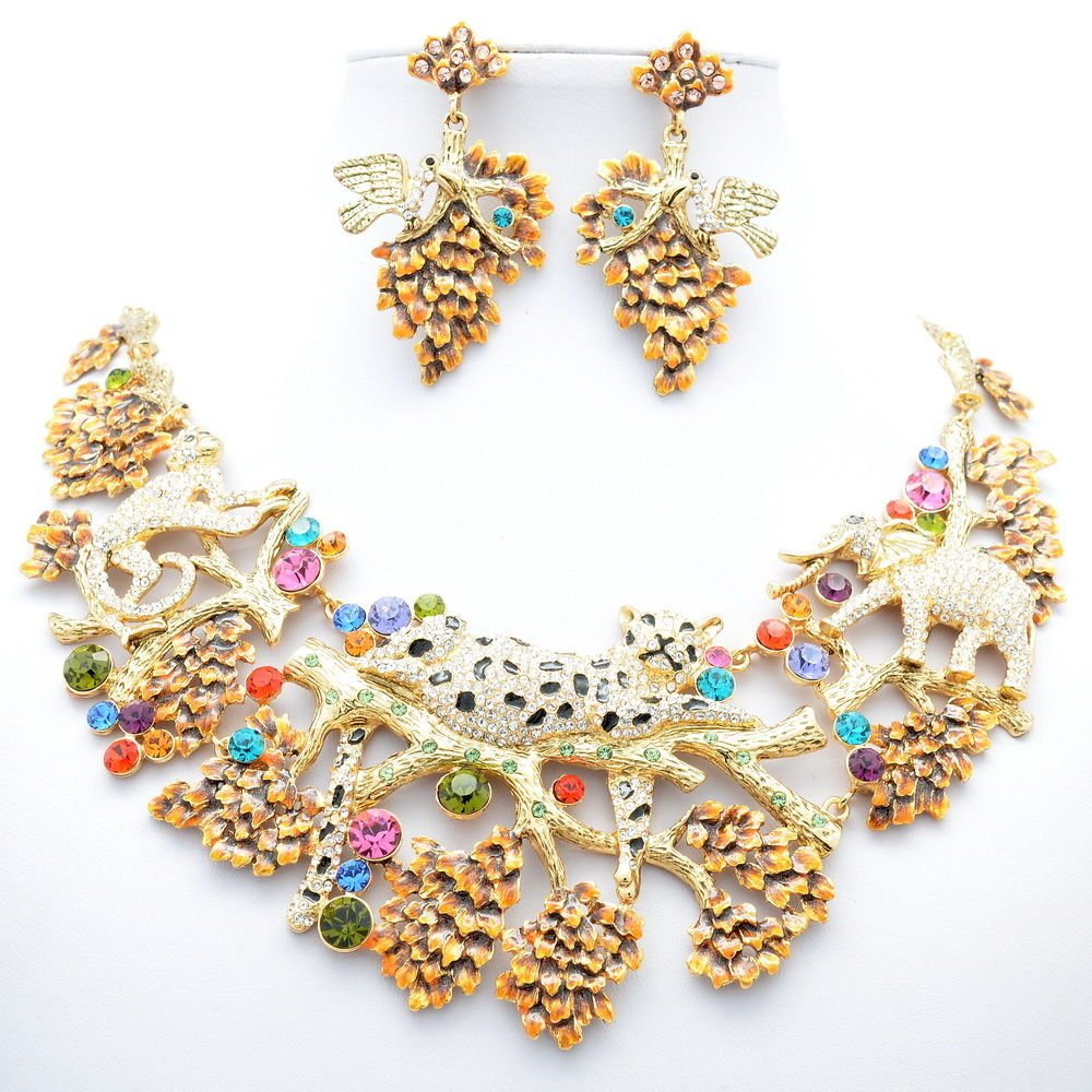 Vintage Clear Leopard Elephant Necklace Earring Set Mix Swarovski Crystal 3163A
