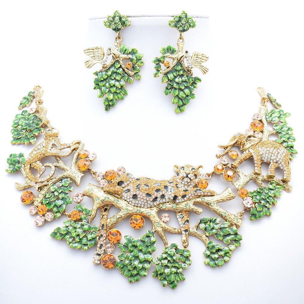 Vintage Leaf Leopard Elephant Necklace Earring Set Topaz Swarovski Crystal 3163A