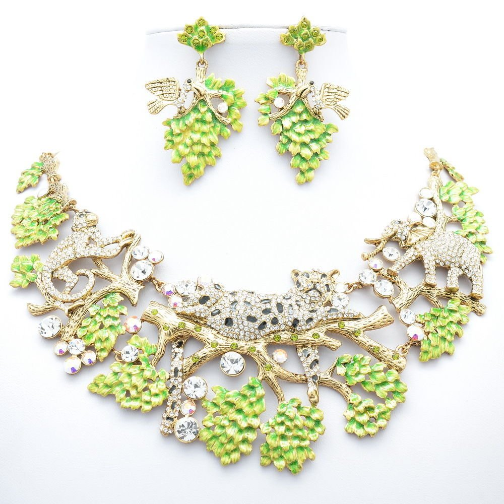 VTG Clear Leopard Elephant Necklace Earring Set Enamel Swarovski Crystal 3163A