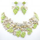 VTG Clear Leopard Elephant Necklace Earring Set Enamel Swarovski Crystal 3163A