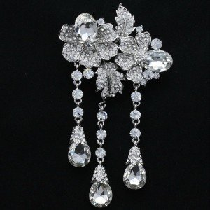 Trendy Bridal Leaf Flower Brooch Pin Clear Rhinestone Crystal 4.7""