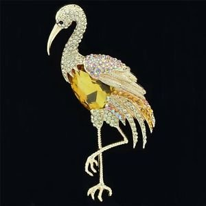 "Drop Yellow Bird Flamingo Brooch Broach Pins 4.0"" W/ Rhinestone Crystal 04672"