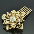 Gold Tone Rhinestone Crystal Big Flower Hair Comb Headband Women Jewelry XBY035