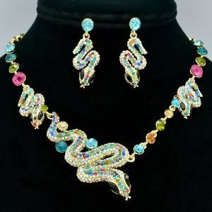 Cool Serpent Snake Necklace Earring Set W/ Mix Rhinestone Crystals Jewelry Set