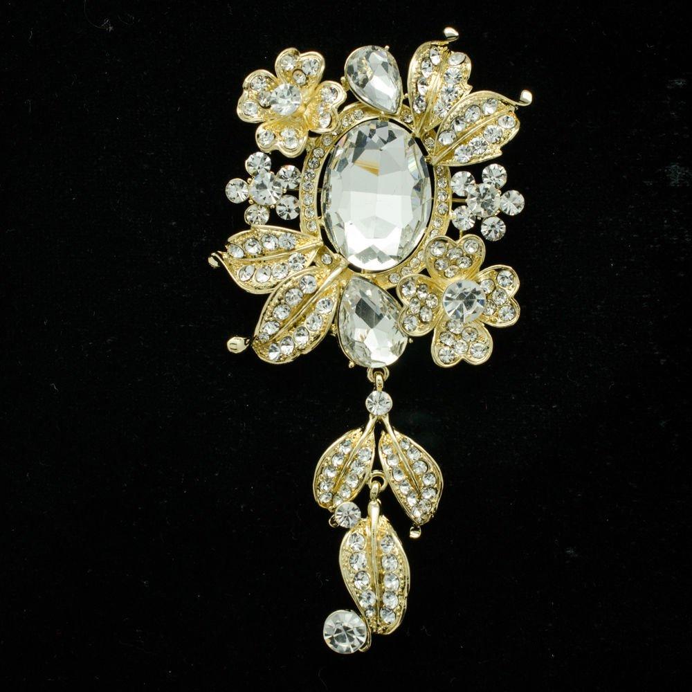 Cute Rhinestone Crystal Flower Brooch Pin Pendant For Women Wedding Jewelry 4864
