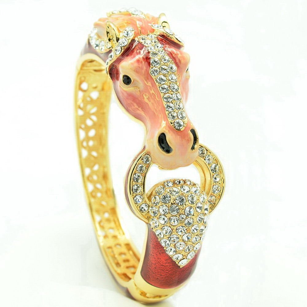 Red Enamel Horse Bronco Bracelet Bangles Women Jewelry Rhinestone Crystal 2227L